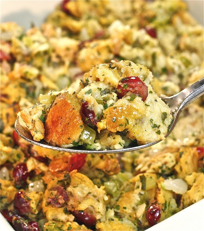 Challah Stuffing with Brandied Cranberries | The Hopeless Housewife