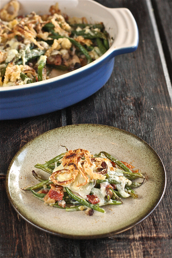 Bacon Cheddar Green Bean Casserole with Crispy Shallots - The Hopeless ...