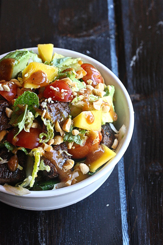 Thai Peanut Steak Salad with Mango | The Hopeless Housewife. This is my version of Houston's /Hillstone Restaurant Evil Jungle or Thai Steak & Noodle Salad- SO delicious!
