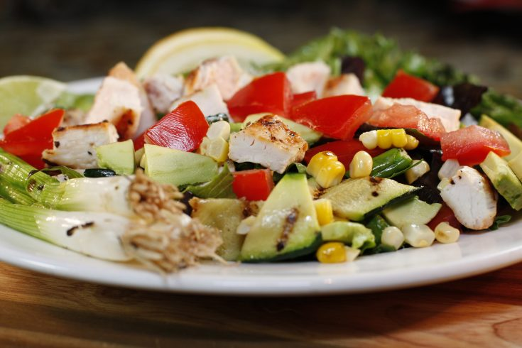 Warm Grilled Vegetable and Lime Chicken Salad