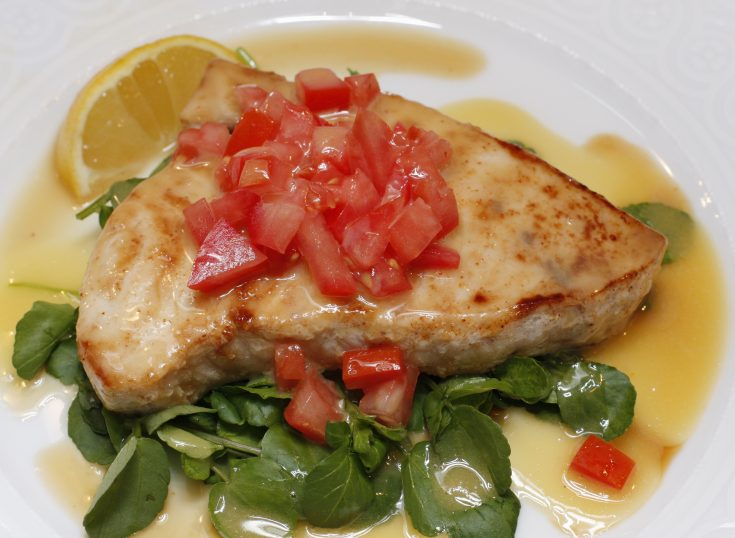 Pan-Roasted Swordfish with Chopped Tomatoes and Lemon Beurre Blanc