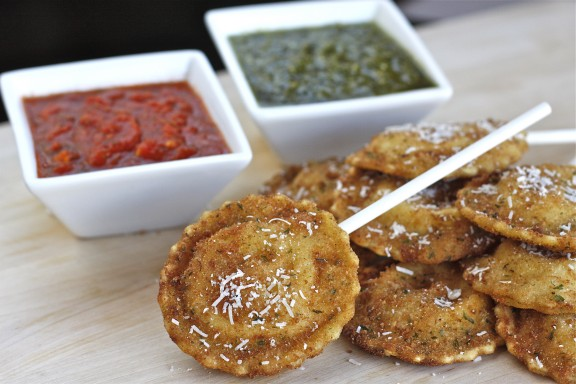 St. Louis Toasted Ravioli Lollipops with Pesto and Marinara Dipping Sauce
