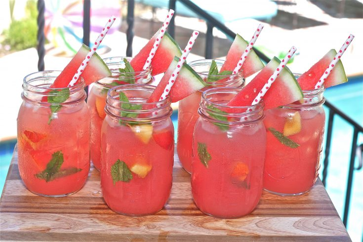 Watermelon, Nectarine Mint Coolers