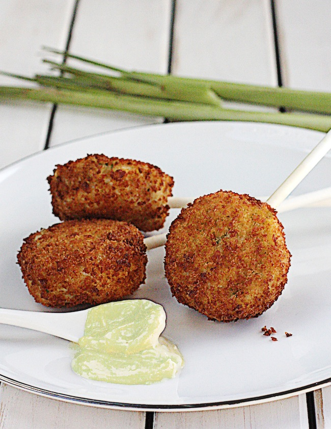 Crab Cake Lollipops with Lemongrass Aioli | The Hopeless Housewife