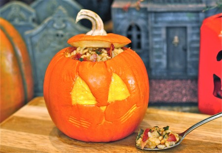Squash and Sage Risotto Stuffed Jack O'Lanterns | The Hopeless Housewife