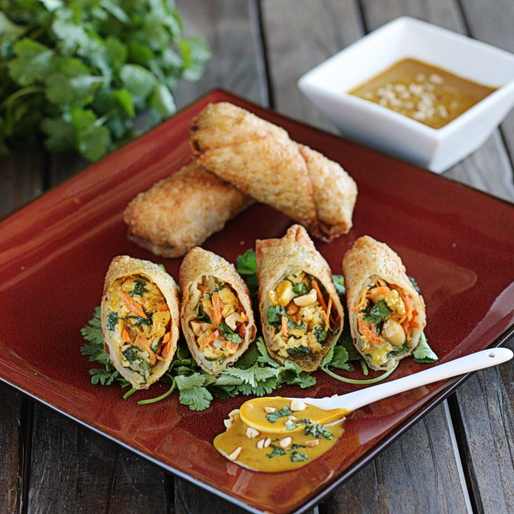 Thai Peanut and Chicken Egg Rolls