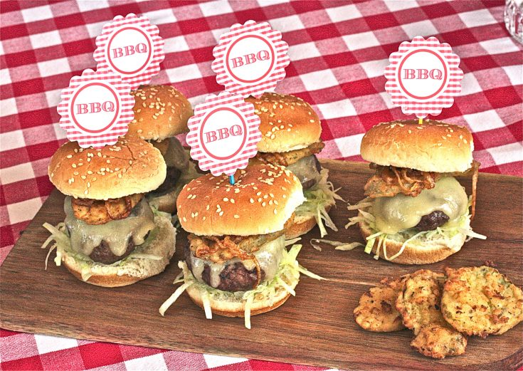 Smoky Burger Sliders with Fried Pickles