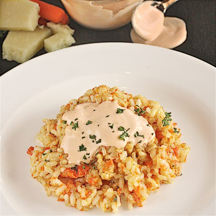 Carrot and Manchego Risotto with Brown Butter and Sriracha Cream Sauce