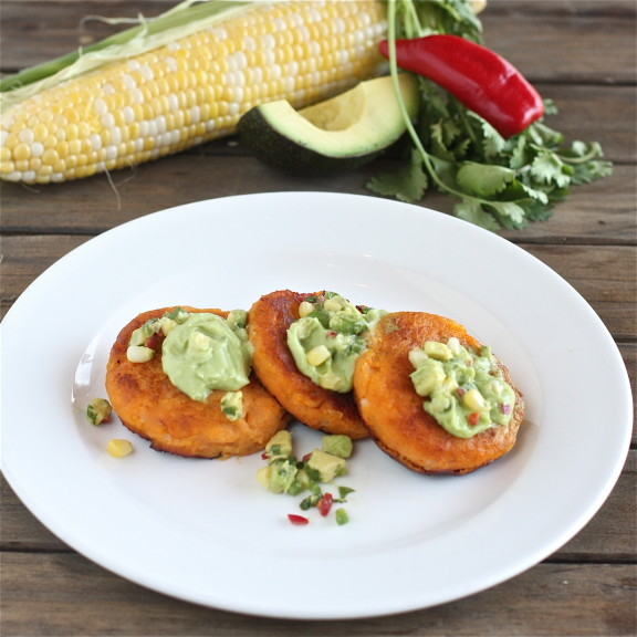 Sweet Potato Cakes with Avocado Creme Fraiche and Corn Salsa The Hopeless Housewife
