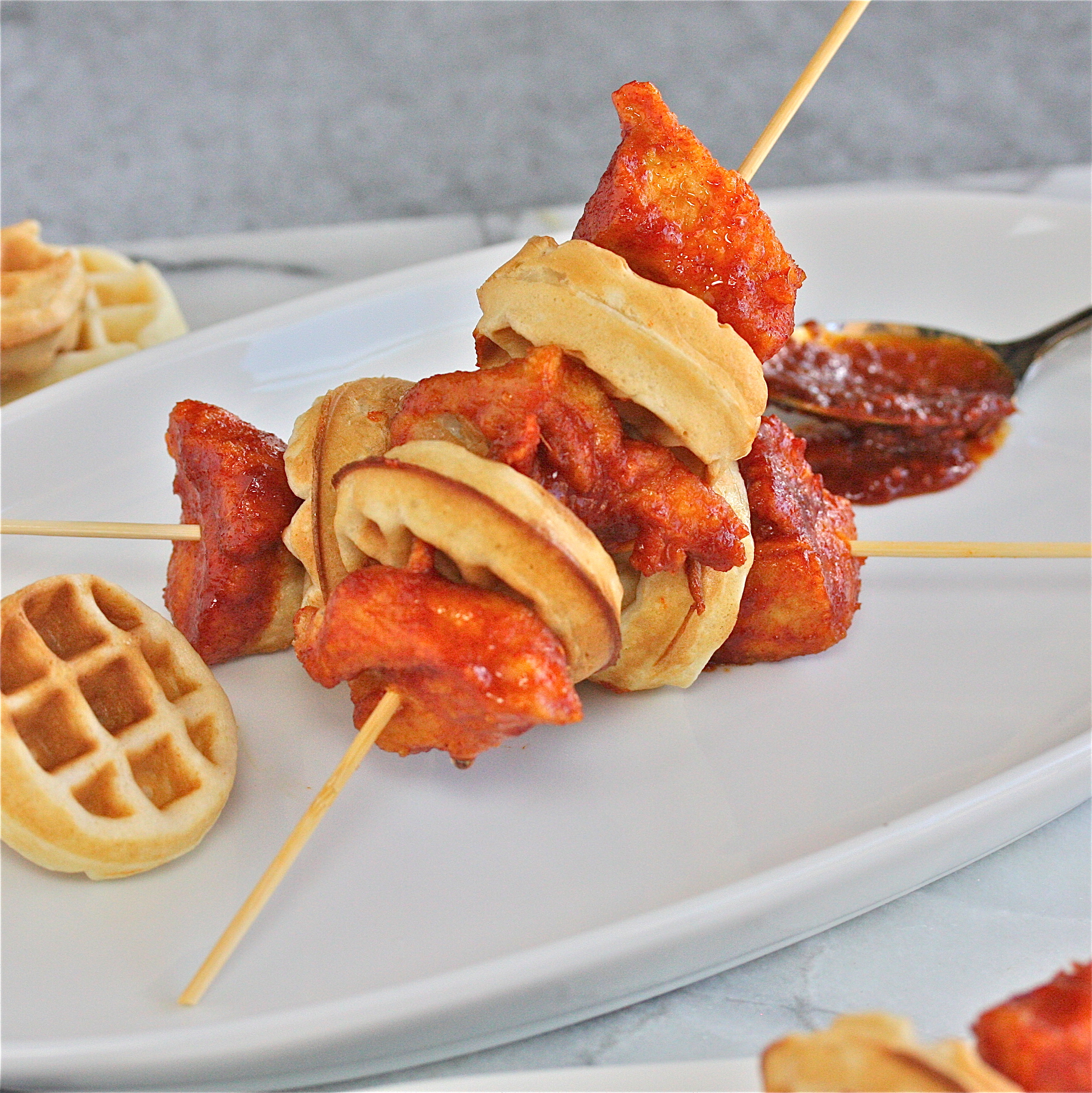 Diy Finger Foods: Food Truck Frenzy: Korean Fried Chicken And Waffle Skewers