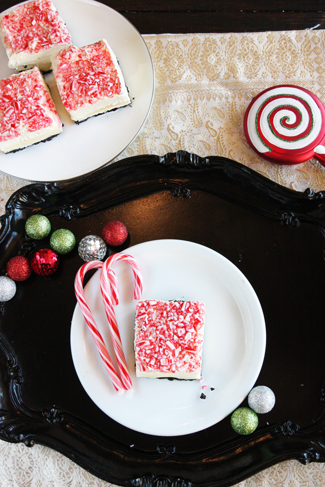Peppermint Bark No-Bake Marshmallow Cheesecake Bars 3| The Hopeless Housewife
